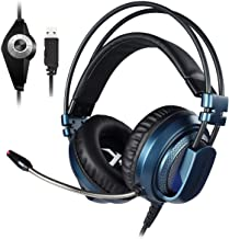 XIBERIA V10U Blue PS4 Headset/Stereo Gaming Headset/PC Headset,Seven Colors LED Luminous noise Isolation Wired Over Ear Stereo Gamer Headphones with Microphone and Volume Contro for PC/PS4/Skype(BLUE)