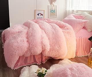 Ceruleanhome 1pc 100% Velvet Flannel Duvet Cover, Solid Color, No Inside Filler, Zipper Close (Full 1pc Duvet Cover, Pink)