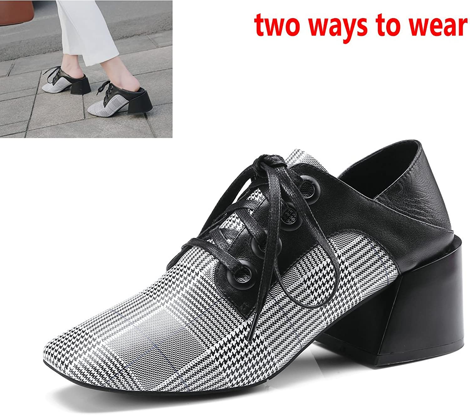 AnMengXinLing Women Oxford shoes Dress Square Toe Lace up Loafer shoes with Thick Mid Heel