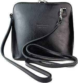 Ladies Fashion Small Square Vera Pelle Italian Leather Cross Body Shoulder Bags