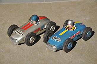 Indian Handicrafts Export 2 Pc Vintage Grand Prix 18 & Super 100 F4 Litho Sports Car Tin Toy, Japan