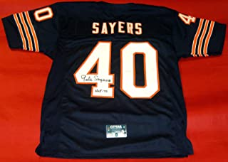 GALE SAYERS AUTOGRAPHED CHICAGO BEARS JERSEY W HOF INSCRIPTION GTSM