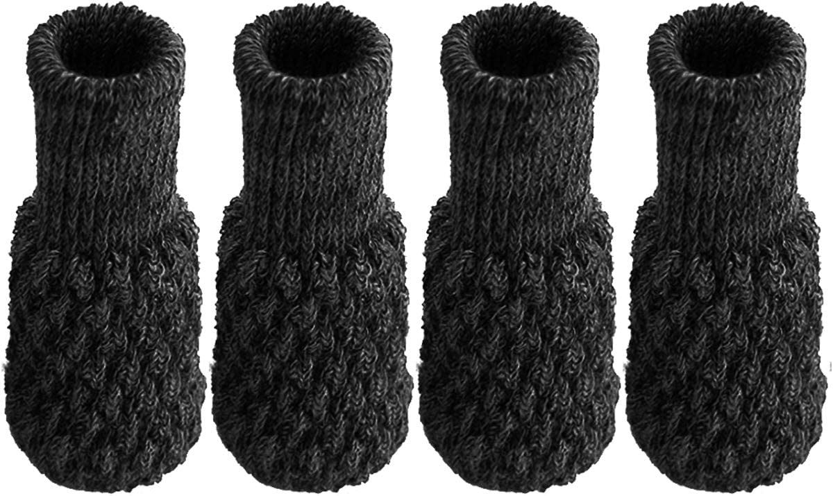 Fit 1 to 2 Round Square Legs CXTAI 4pcs Black Knitted Elastic Chair Leg Socks Furniture Cap Table Feet Cover
