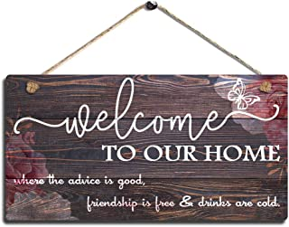 SAC SMARTEN ARTS Vintage Home Decor Sign Welcome to Our Home Wall Art Sign-Where The Advice is Good, Friendship is Free and Drinks are Cold Wall Hanging Sign Size 11.5