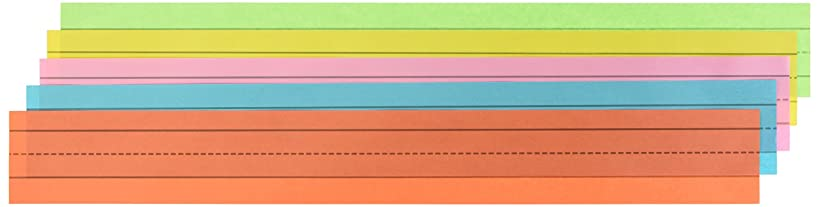 School Smart Ruled Rainbow Sentence Strips, 3 x 24 Inches, Rainbow, 43 lb, Pack of 100