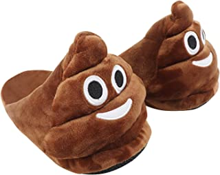 Emoticons Emoji Home Slippers for Women and Mans Plush Fluffy Memory Foam Slippers Warm and Cozy House Shoes Indoor and Outdoor Brown