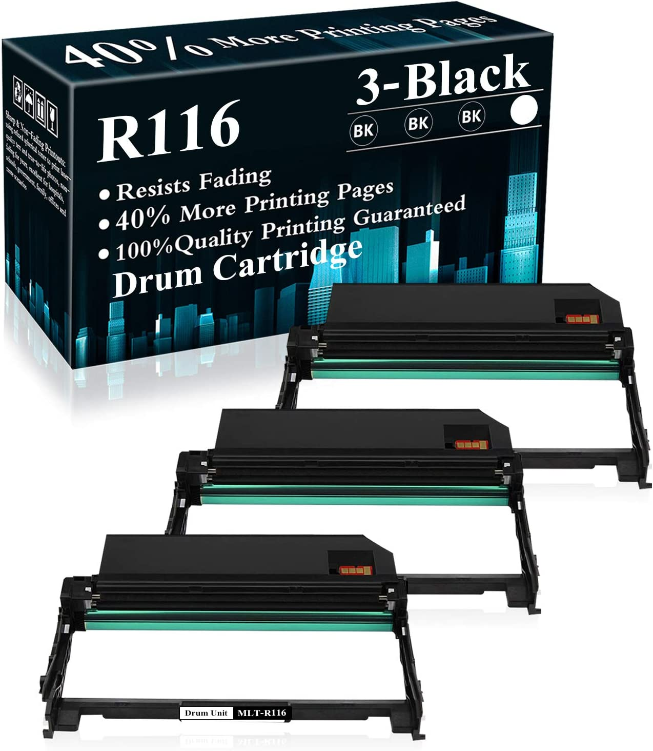 3 Pack MLT-R116 Black Drum Unit Replacement for Samsung Xpress M2825DW M2835 M2675FN M2676N M2676FH M2875FD M2625 M2625D M2626 M2875FD M2875FD M2885FW M2876HN Printer,Sold by TopInk