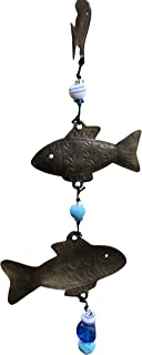 Three Fish with Glass Beads 24 in Long Wind Chime with Glass Beads and Nana Bell