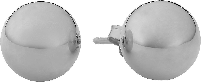 Kooljewelry 14k White Gold Ball Stud Earrings (4, 6 or 8 mm)