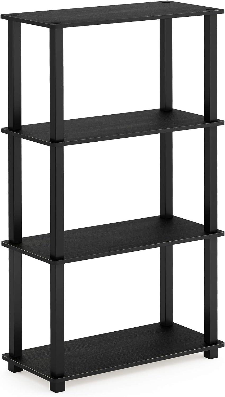 Furinno 18028AM BK Turn-S-Tube 4-Tier Multipurpose Shelf Display Rack, Square, Americano Black