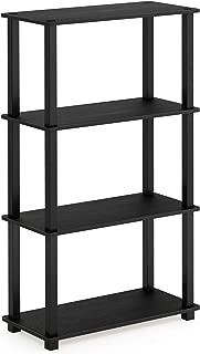 Furinno Turn-S-Tube 4-Tier Multipurpose Shelf Display Rack, Square, Americano/Black
