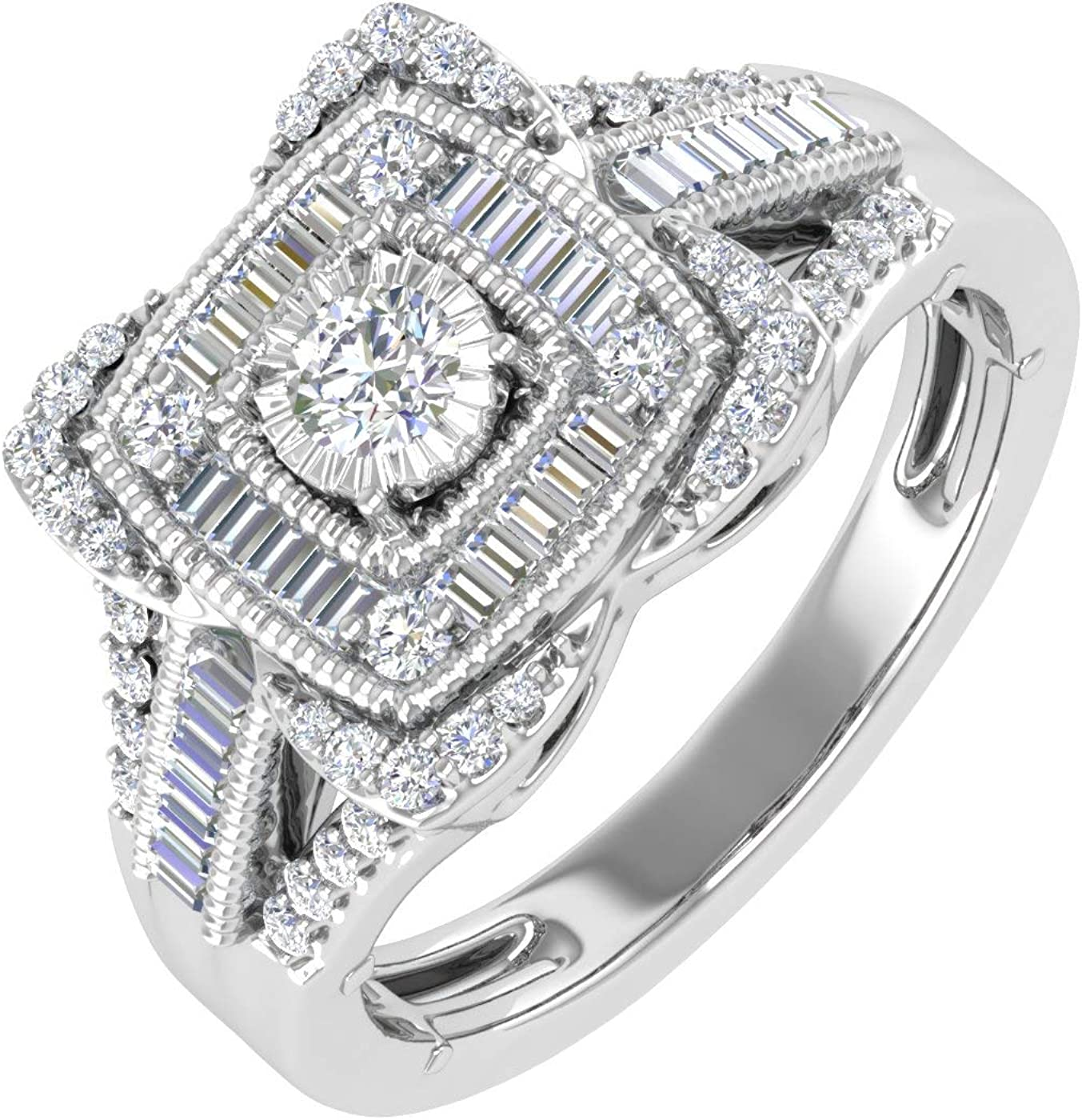 1 2 Raleigh Mall Carat Round Baguette Shape Cushion Shaped Diamond Halo Quality inspection Rin