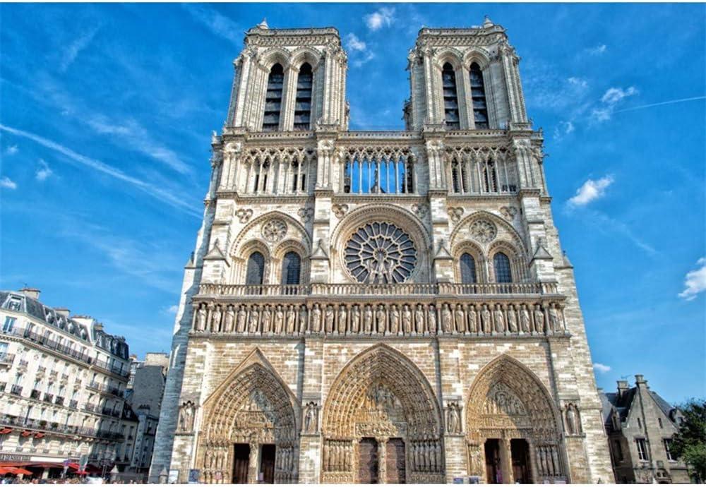 OERJU 15x10ft Notre Dame Paris Scene Backdrop Blue Skies World Famous Landmark Photography Background Kids Adults Portrait Photo Props Traveller Party Decor YouTube Video Making Vinyl Wallpaper