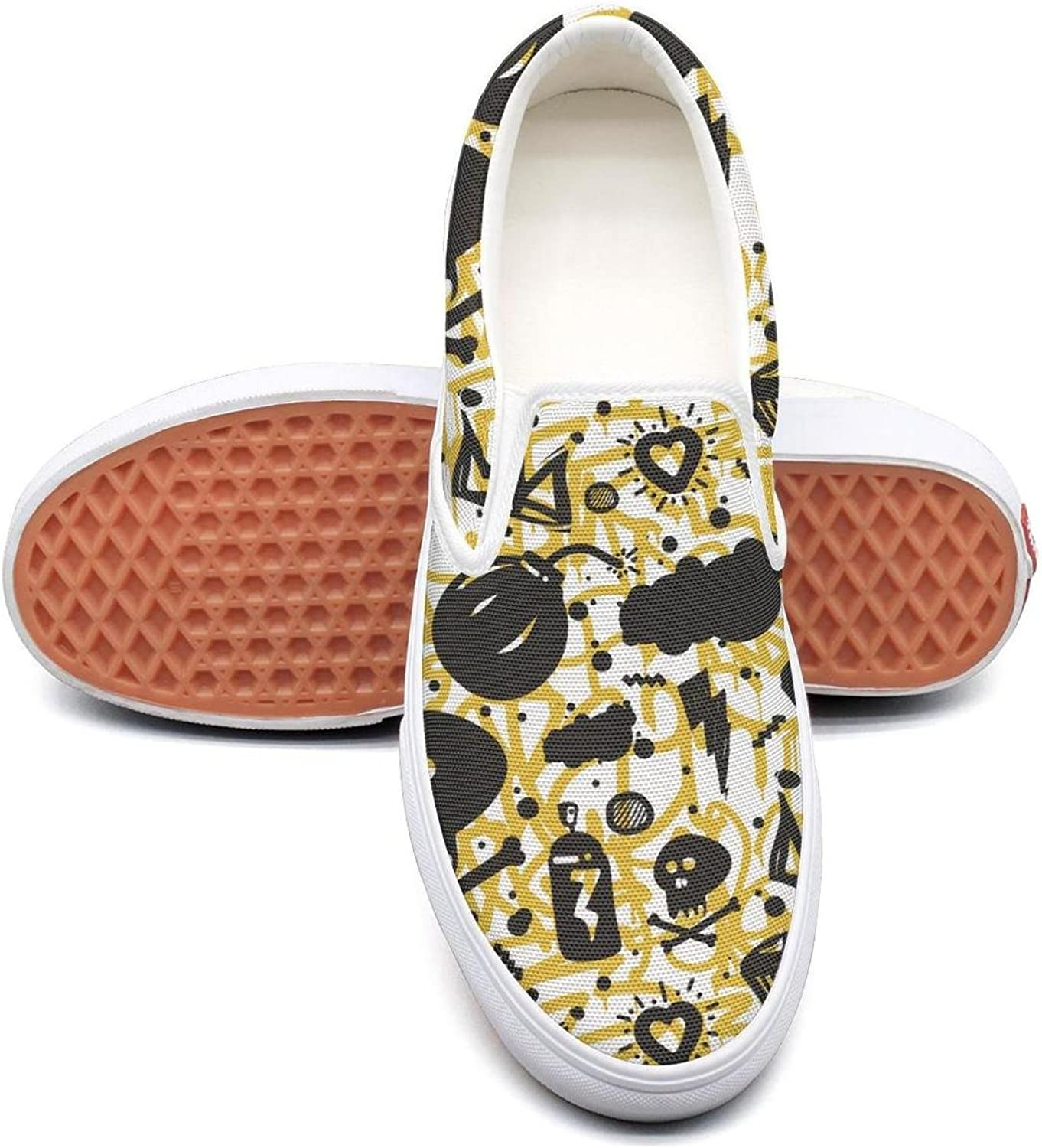 colorful Candy Halloween Skull Art Slip On Rubber Sole Loafers Canvas shoes for Women Fashion