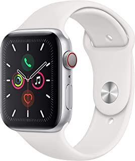 Apple Watch Series 5 (GPS + Cellular, 44 mm) Aluminio en Plata - Correa Deportiva Blanco