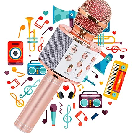 JY Micrófono Karaoke Bluetooth,Micrófono Karaoke Portátil para KTV,Portátil Inalámbrica Micrófono,Altavoz del Karaoke para Niños Canta Partido Musica,Micrófono Inalámbrico Bluetooth,Bluetooth Altavoz,Micrófono Wireless Bluetooth Compatible con Android/iOS PC,Tabletas,el Hogar KTV(Dorado)
