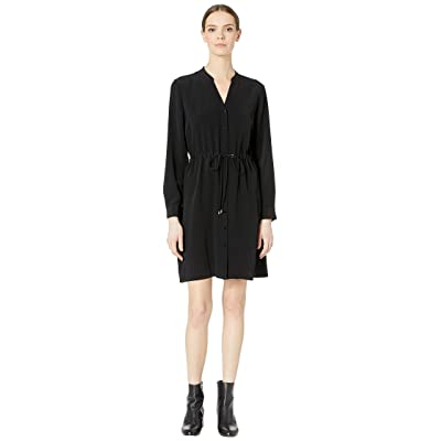 Eileen Fisher Stand Collar Dress with Drawstring (Black) Women