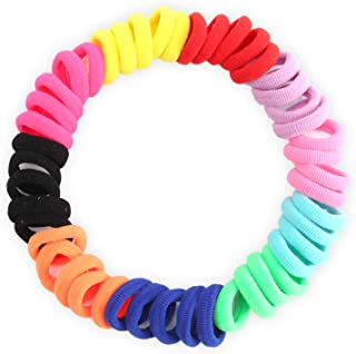 Hoyols Seamless Hair Bands Small Hair Ties Mix Color Ponytail Holder No Crease Damage Toddler for Baby Girl 100 Pieces