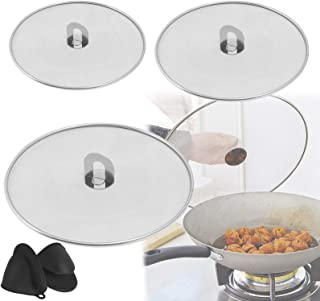 3Pcs Splatter Screen for Frying Pan with 1pair Silicone Pot Mitts, 10In 11.5In and 13In Stainless Steel Grease Splatter Gu...
