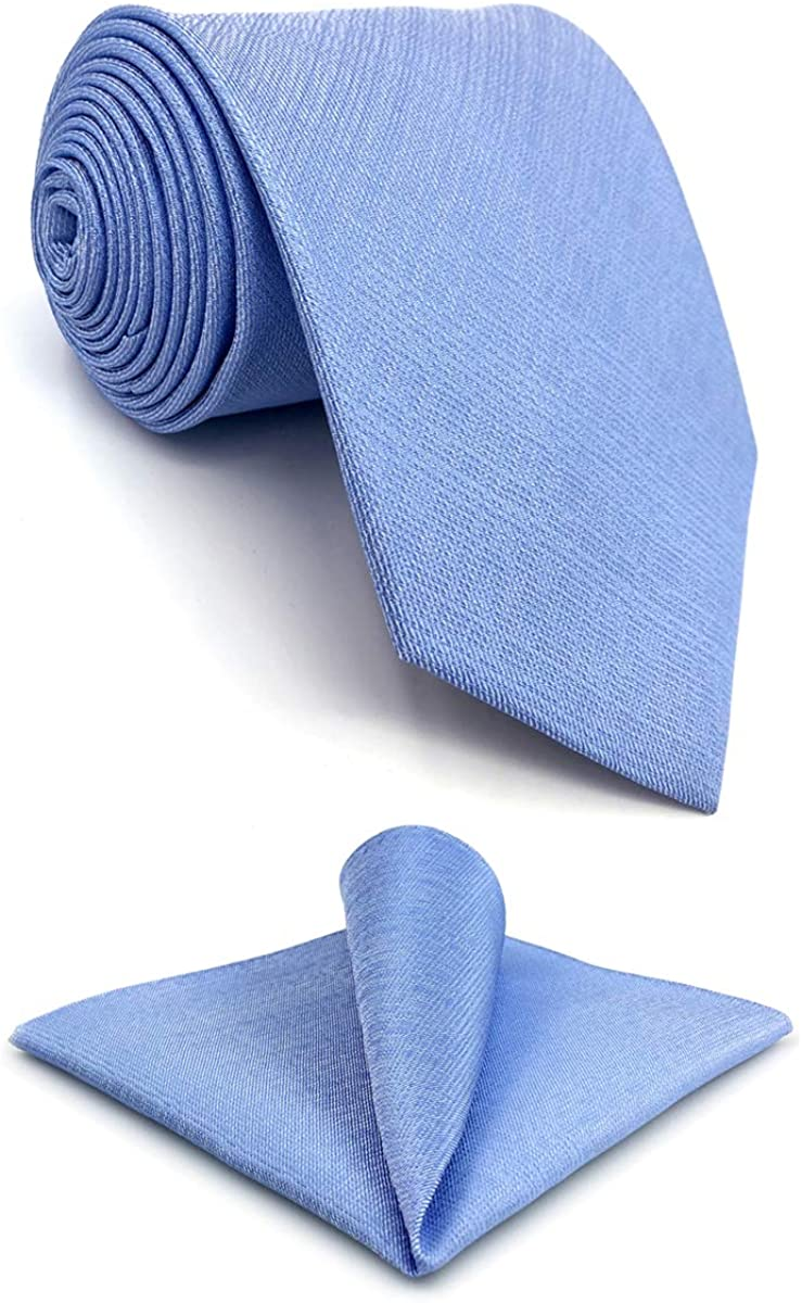 S&W SHLAX&WING Tie Sets for Men Dress Neckties Light Blue Solid Extra Long