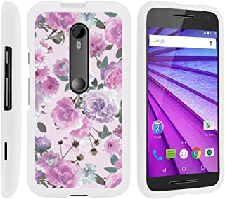 MINITURTLE Compatible with [Motorola Moto G 3rd Generation Case, Moto G (3rd Gen) Shell Case][Snap Shell] Slim Hard White Plastic Case w/Non Slip Matte Coating Pink Purple Flower