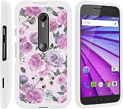 MINITURTLE Compatible with [Motorola Moto G 3rd Generation Case, Moto G (3rd Gen) Shell Case][Snap Shell] Slim Hard White Plastic Case w/Non Slip Matte Coating Pink Purple Flower