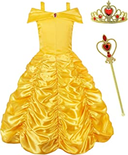 Belle Princess Layered Costumes Girls Cosplay Party Dress up Shoulder Outfits Yellow,Crown + Scepter