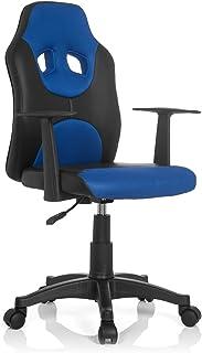 hjh OFFICE KID GAME AL Silla Infantil, Piel_sintética, Multicolor (Negro/Azul), 41x51x100 cm