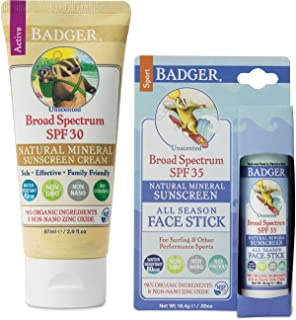 product image for Badger SPF30 Sunscreen (2.9 oz) and Badger SPF 35 Sport Sunscreen Face Stick (.65 oz)