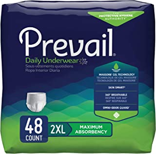 Prevail Maximum Absorbency Incontinence Underwear 2X-Large 12 Count (Pack of 4) Breathable Rapid Absorption Discreet Comfort Fit Adult Diapers