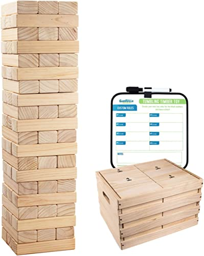 Giant Tumbling Timber Toy - 60 Jumbo Wooden Blocks Floor Game for Kids and Adults, w/ Storage Crate - Premium Pine Wo...