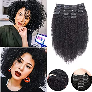"Afro Kinkys Curly 4B 4C Clip in Hair Extensions,SHOWJARLLY Remy Human Hair Extensions, 8Pcs/125g 18"" Thick Full Head Curly Wave Double Weft #1B Natural Black"