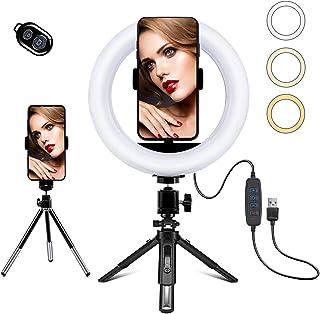 Petdal 8 tum LED-ringlampa med stativstativ och telefonhållare, dimbar 3 färglägen och 10 ljusstyrka USB-driven skrivbords...