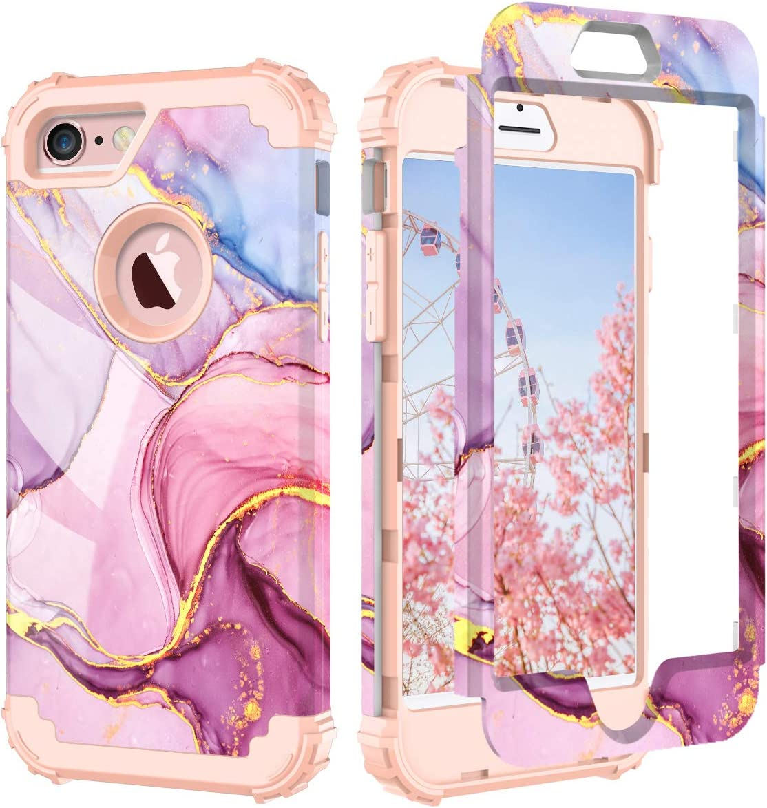 PIXIU iPhone 6 6s case,Three Layer Heavy Duty Shockproof Protective Soft Silicone Hard Plastic Bumper Sturdy Case Cover for iPhone 6 6s 4.7 inch Marble