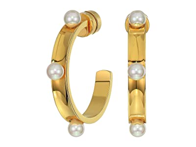 Majorica 4 mm Circle Round Hoop Earrings in Gold Plated Steel (White) Earring