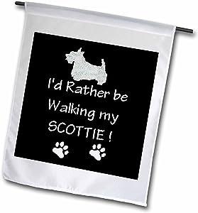 3dRose fl_1316_1 Walking with Scottie Garden Flag, 12 by 18-Inch
