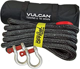 VULCAN Off-Road Double Braided Recovery Rope Kit with 7/8 Inch x 30 Foot Rope, Two Shackles and Vented Storage Bag - 28,600 lbs. Breaking Strength - Red, Black