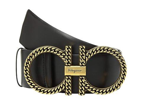 Salvatore Ferragamo Adjustable Gancini Belt w/ Gold Hardware