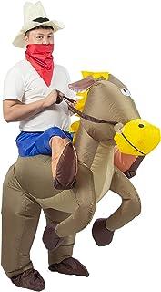 JYZCOS Inflatable Cowboy Costume Western Fancy Dress for Men Women Halloween Party Suit