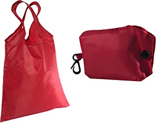 Shopping Bag Reusable Washable fold able | Smart Grocery Tote Bags Carrier with Key-Ring Foldable Collapsible Attached Pouch Washable, Durable, Lightweight Eco-Friendly (red)