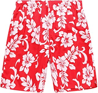 Hawaii Hangover Men's Swim Trunk in All Over Floral Print in Red