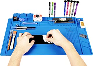 Kaisi Heat Insulation Silicone Repair Mat with Scale Ruler and Screw Position for Soldering Iron, Phone and Computer Repair Size:17.7 x 11.8 Inches