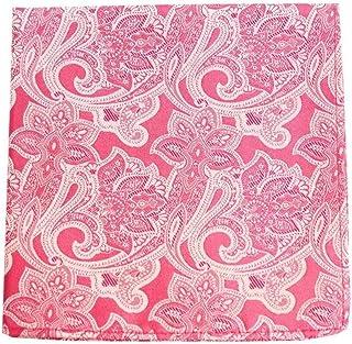 Navy//Pink David Van Hagen Mens Box Pattern Silk Pocket Square