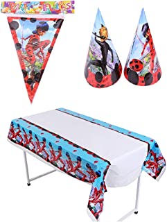 Astra Gourmet Miraculous Ladybug Party Supplies - Include 1 Party Banner, 1 Table Cloth and 24 Cone Hats for Baby Shower or Kids Birthday Party Decoration