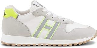 Hogan Scarpe da Uomo HXM4290AN52KMF75TQ Sneakers Sportive Ginnastica Running in Pelle Bianco Giallo Fluo Nuove Calzature P...
