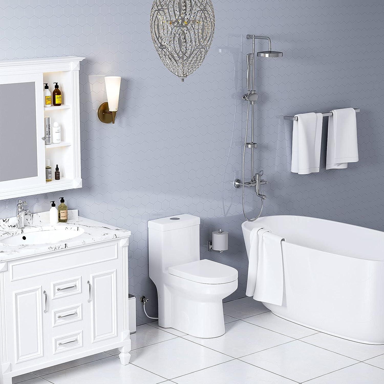 HOROW Small Toilet, One Piece Compact Bathroom Toilet