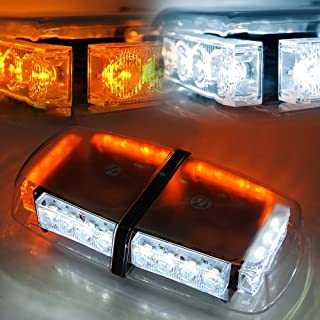 Xprite White and Yellow 24 LED Roof Top Mini Bar Strobe Light w/Magnetic, Truck Car Vehicle Law Enforcement Emergency Hazard Caution Warning Snow Plow Safety Flashing Beacon Lights