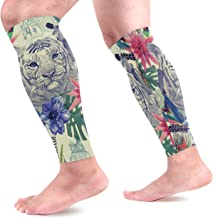 AHOMY Calf Compression Sleeves India Style Tiger Leg Compression Socks for Runners, Calf Guard Great for Running, Cycling