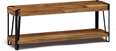 "Alaterre Furniture Ryegate Natural Live Edge Solid Wood with Metal 48"" Bench"