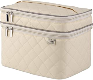 Ellis James Designs Large Travel Makeup Bag for Women - Cream Make Up Bag for Women - Travel Cosmetic Bag - Makeup Case Gifts for Women, Makeup Organizer Bag, Travel Toiletry Bag for Women